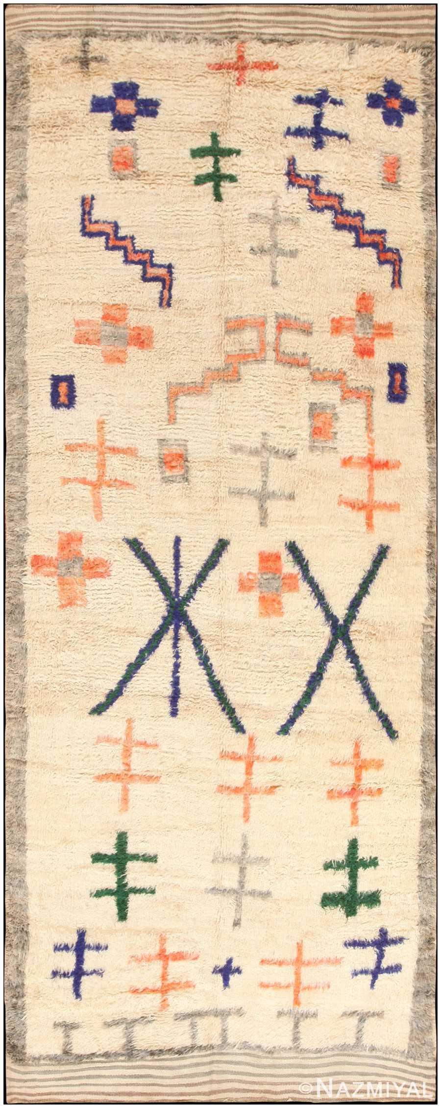 Tribal Vintage Shag Berber Moroccan Rug 47098 Nazmiyal