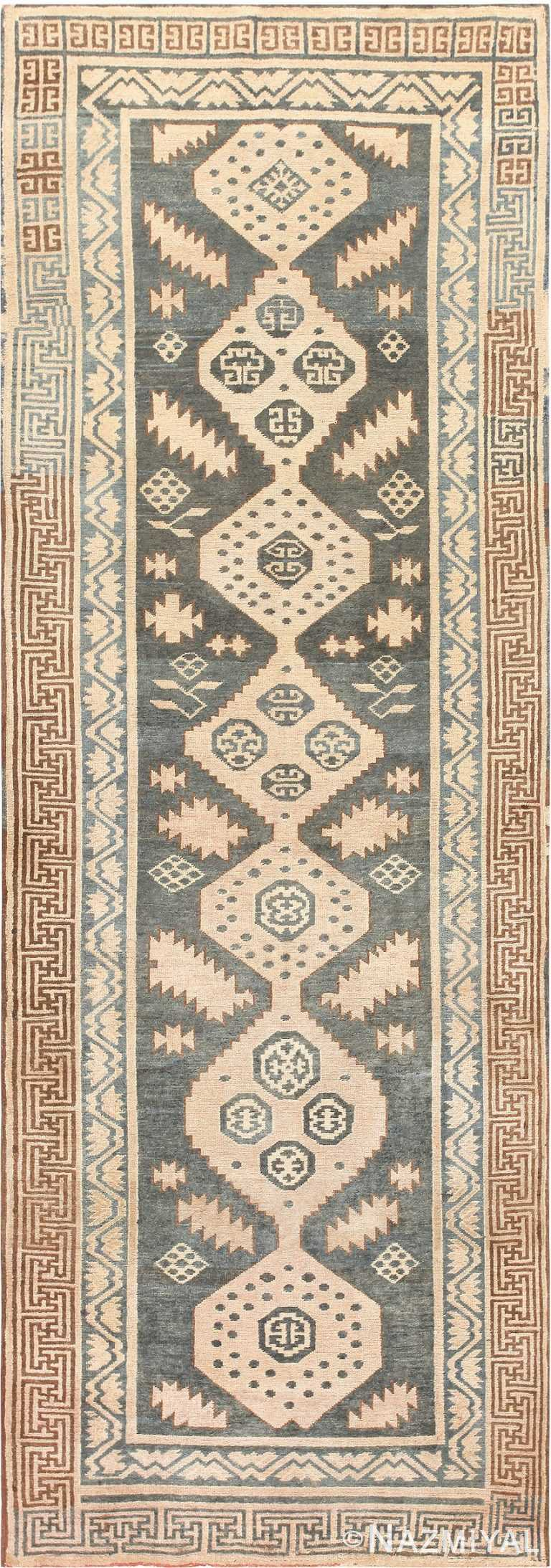 Tribal Long and Narrow Blue Antique Khotan Carpet #47250 by Nazmiyal Antique Rugs