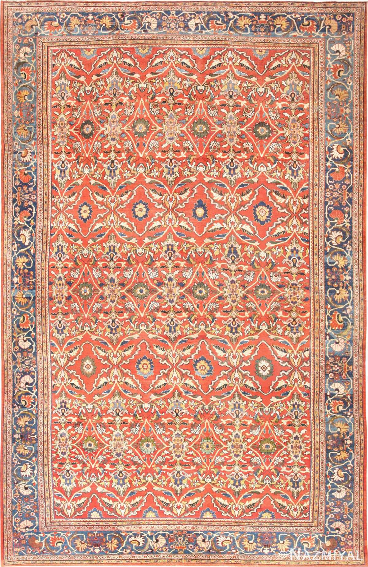 Rust Oversize Antique Persian Sultanabad Carpet 47267 Nazmiyal