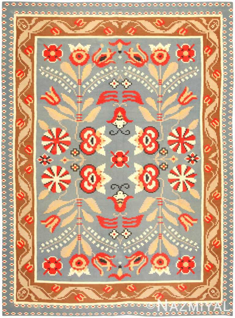 Vintage Swedish Kilim 47153 Nazmiyal