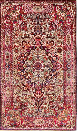 Tapis Antique Kerman en soie par Maître Aboul Ghasem Kermani 47591