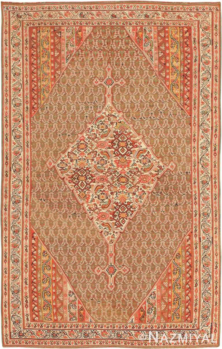 Antique Persian Senneh Kilim Carpet 47278 Nazmiyal