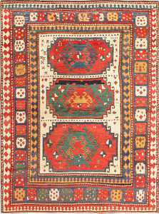 Antique Tribal Caucasian Kazak Rug 47371 Nazmiyal