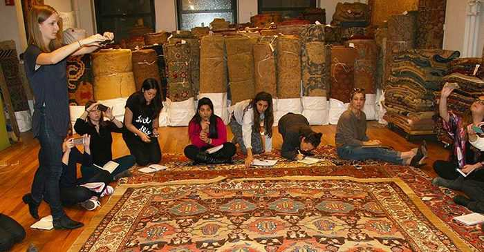 New School Interior Design Class Visits Nazmiyal Antique Rugs NYC