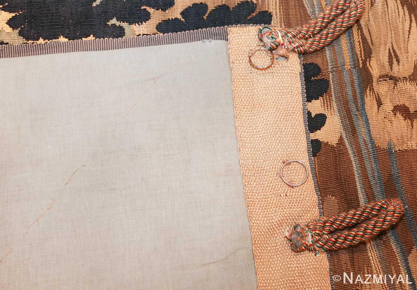 antique 18th century flemish tapestry titled pastoral 47384 back Nazmiyal