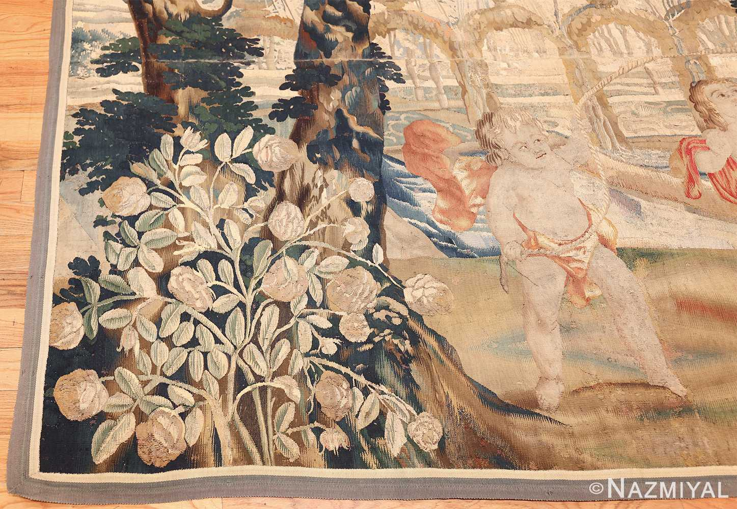 antique 18th century flemish tapestry titled pastoral 47384 corner Nazmiyal