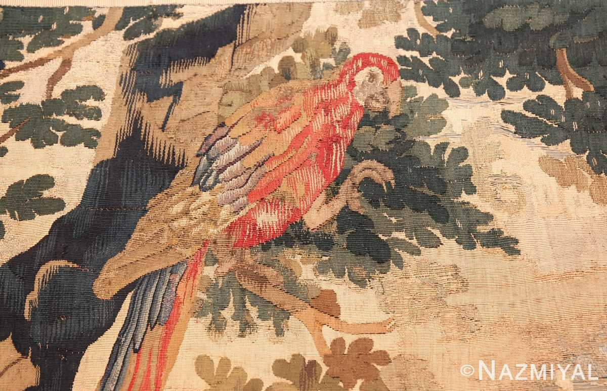 antique 18th century flemish tapestry titled pastoral 47384 peacock Nazmiyal