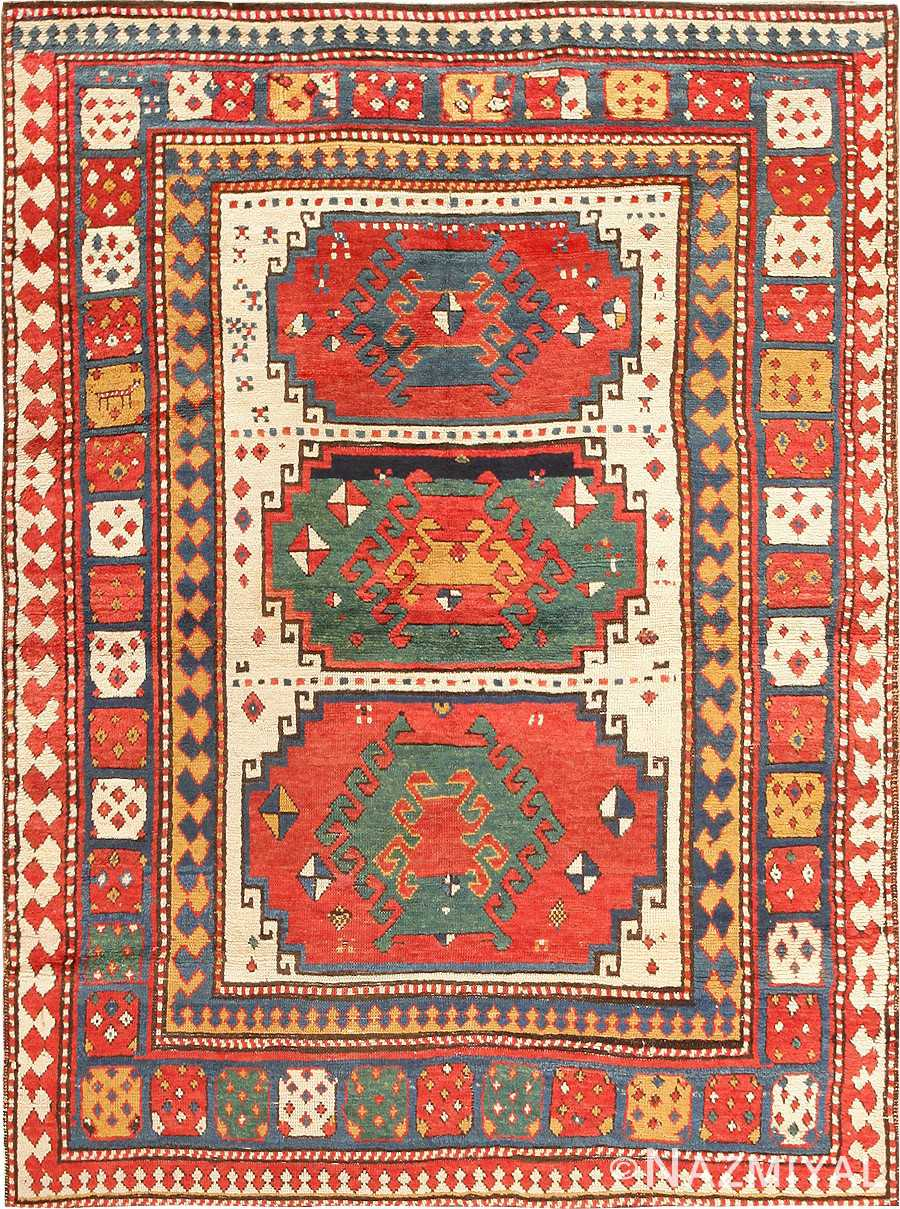 Antique Tribal Caucasian Kazak Rug
