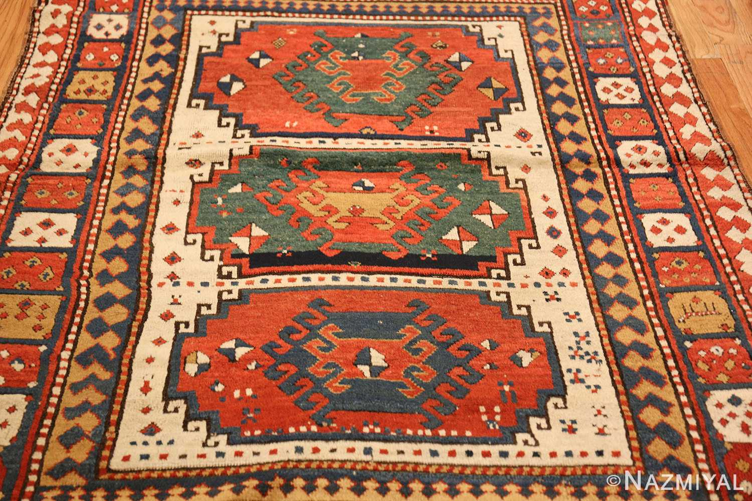 antique tribal caucasian kazak rug 47371 field Nazmiyal