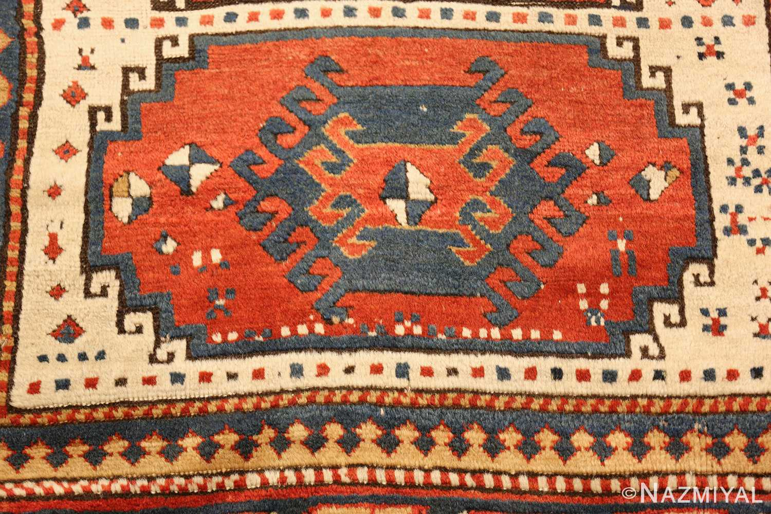 antique tribal caucasian kazak rug 47371 red Nazmiyal