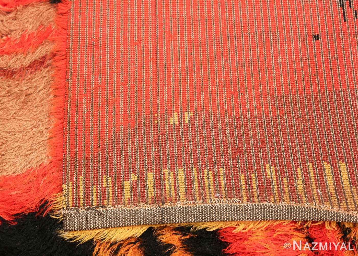 Vintage Swedish Rya Rug 47323 Woven Knots Nazmiyal