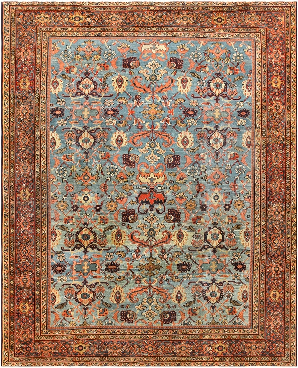Light Blue Background Antique Sultanabad Rug from Nazmiyal