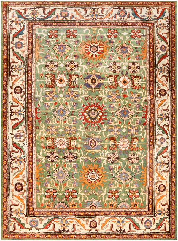 Green Background Persian Antique Sultanabad Rug from the Nazmiyal Collection in NYC