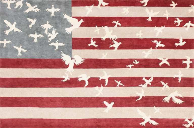 Luke Irwin Doves and Stripes Art Carpet 47404 Large Image