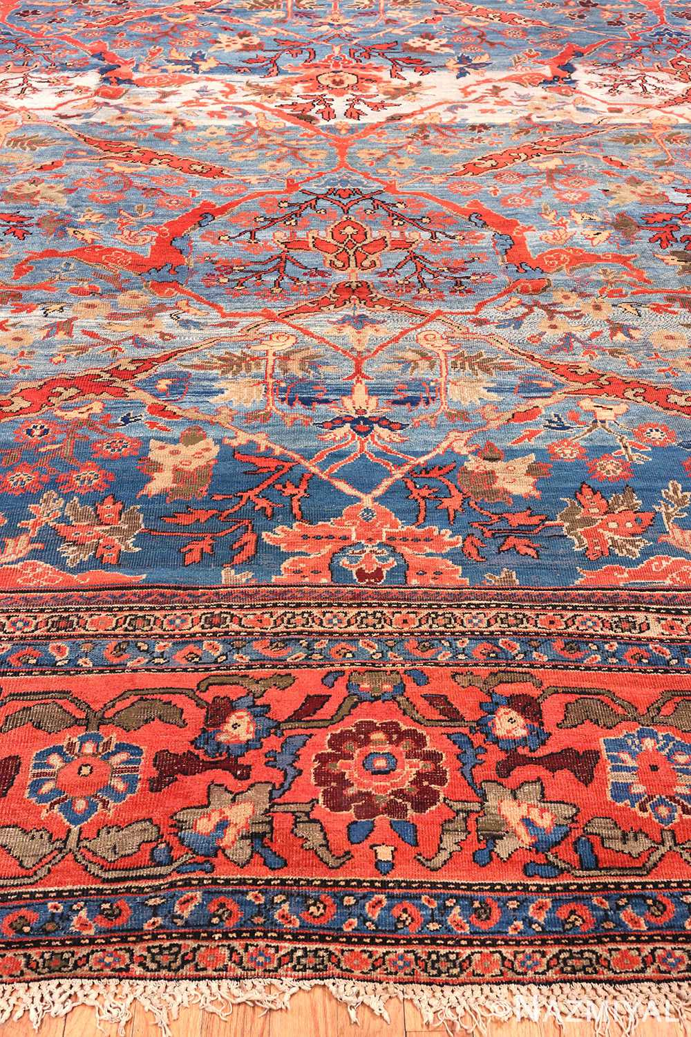 Beautiful Blue Abrash Antique Persian Sultanabad Carpet by Nazmiyal Antique Oriental Rugs
