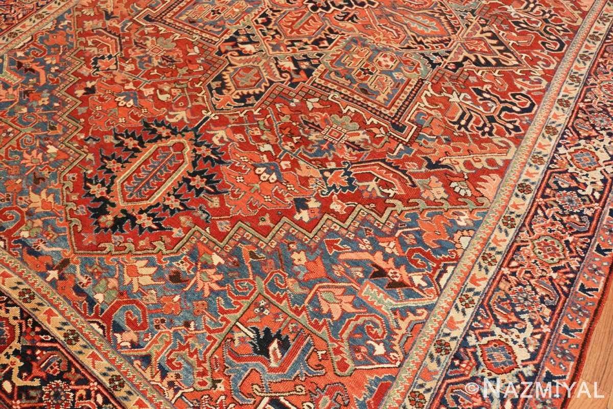 Close-up Antique Persian Heriz rug 47297 by Nazmiyal