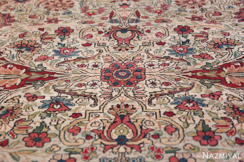 Fine Square Antique Persian Kerman Lavar Rug 47429 Pink Flower Nazmiyal