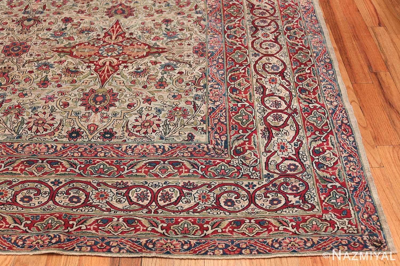 Fine Square Antique Persian Kerman Lavar Rug 47429 Side Corner Nazmiyal