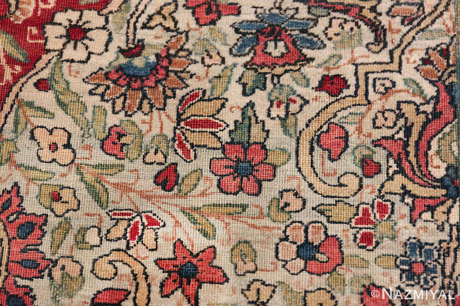 Fine Square Antique Persian Kerman Lavar Rug 47429 Tiny Field Flowers Nazmiyal
