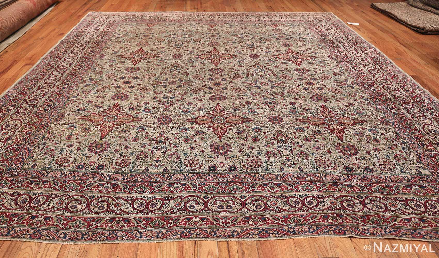 Fine Square Antique Persian Kerman Lavar Rug 47429 Whole Design Nazmiyal