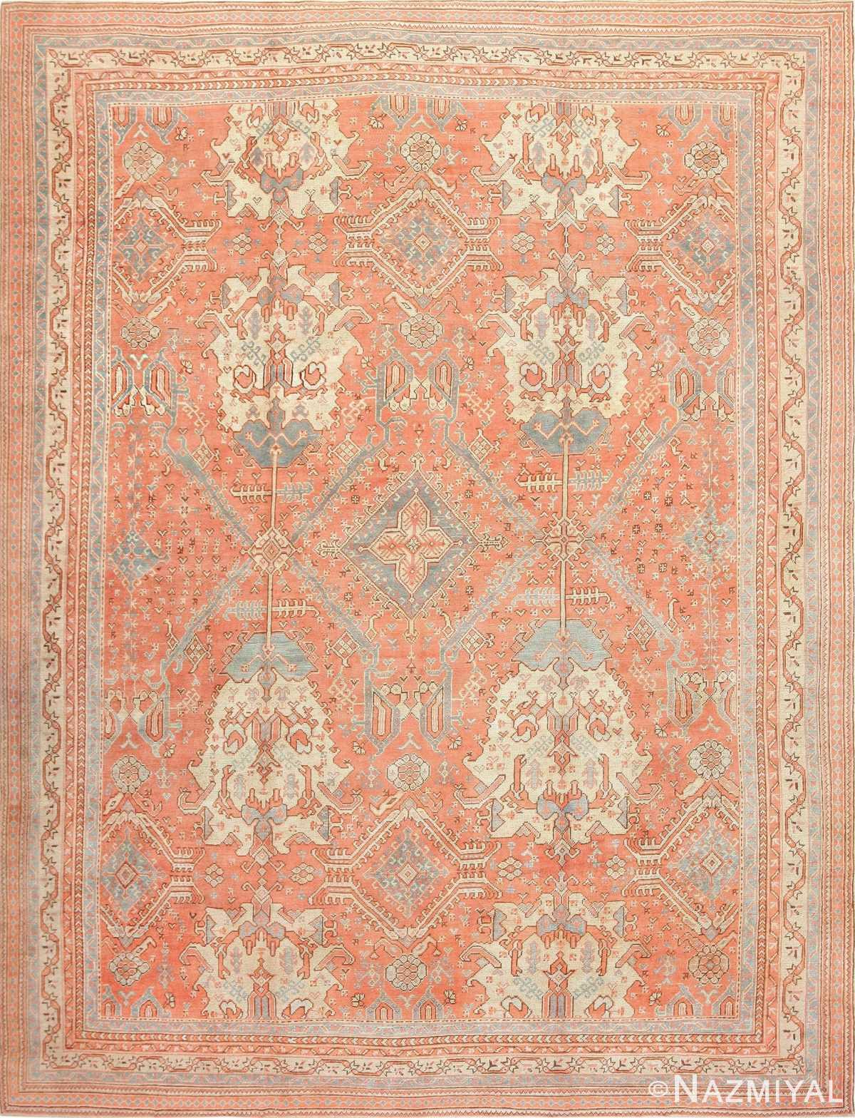 Large Antique Turkish Oushak Rug 47426 Detail/Large View