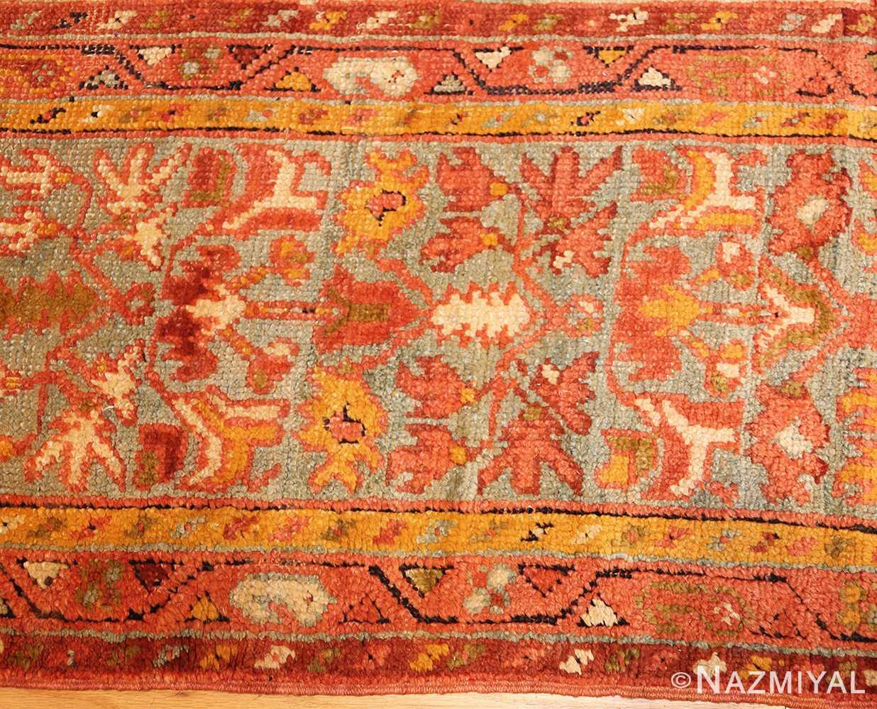 vintage turkish oushak carpet 47401 border Nazmiyal