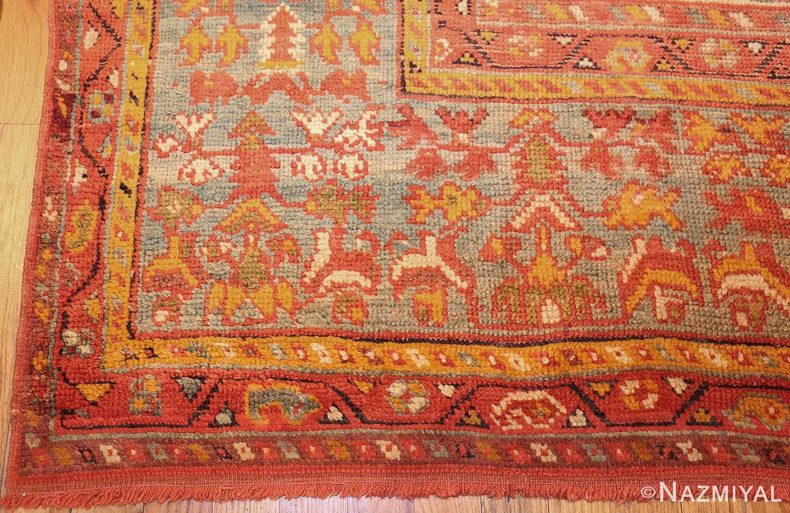 vintage turkish oushak carpet 47401 corner Nazmiyal