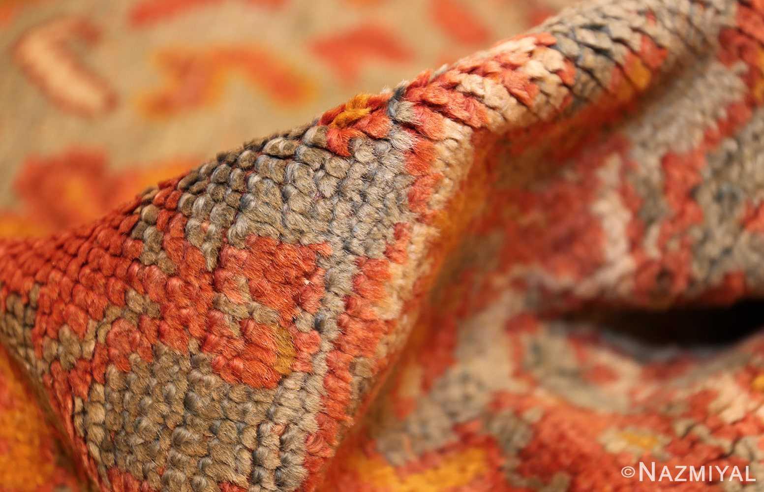 vintage turkish oushak carpet 47401 pile Nazmiyal