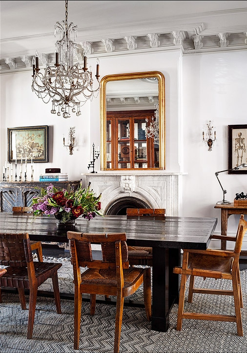 Roman and Williams Brooklyn Brownstone Dining Room With Moroccan Rug from Nazmiyal