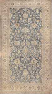 Large Oversized Blue Oriental Antique Persian Kerman Carpet 44142 Nazmiyal