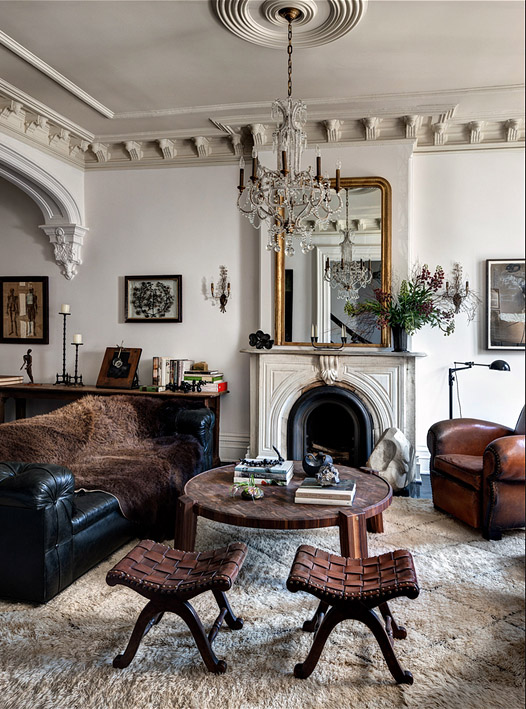 Living Room Interior Design By Roman and Williams Berber Moroccan Rug From Nazmiyal