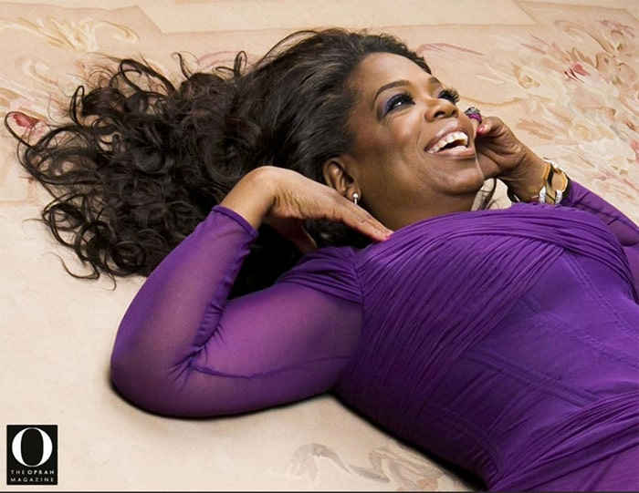 Oprah Laying Down on a Rug From Nazmiyal