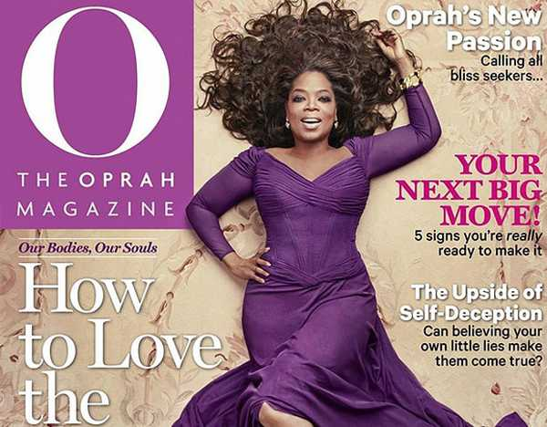 oprah on the cover of May Issue of O Magazine while laying on an Aubusson rug from Nazmiyal