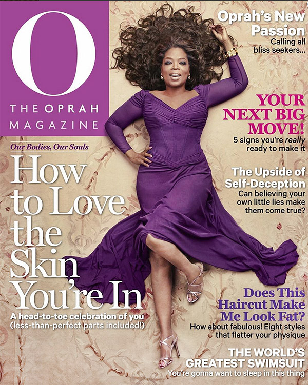 Oprah On The Cover of May Issue of O Magazine Laying on an Aubusson Carpet Nazmiyal