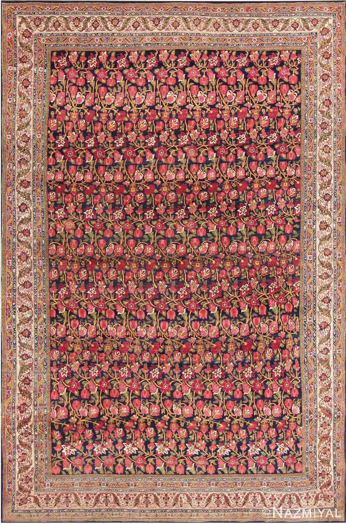 Antique Blue Background All Over Design Persian Bidjar Carpet 47411 Nazmiyal