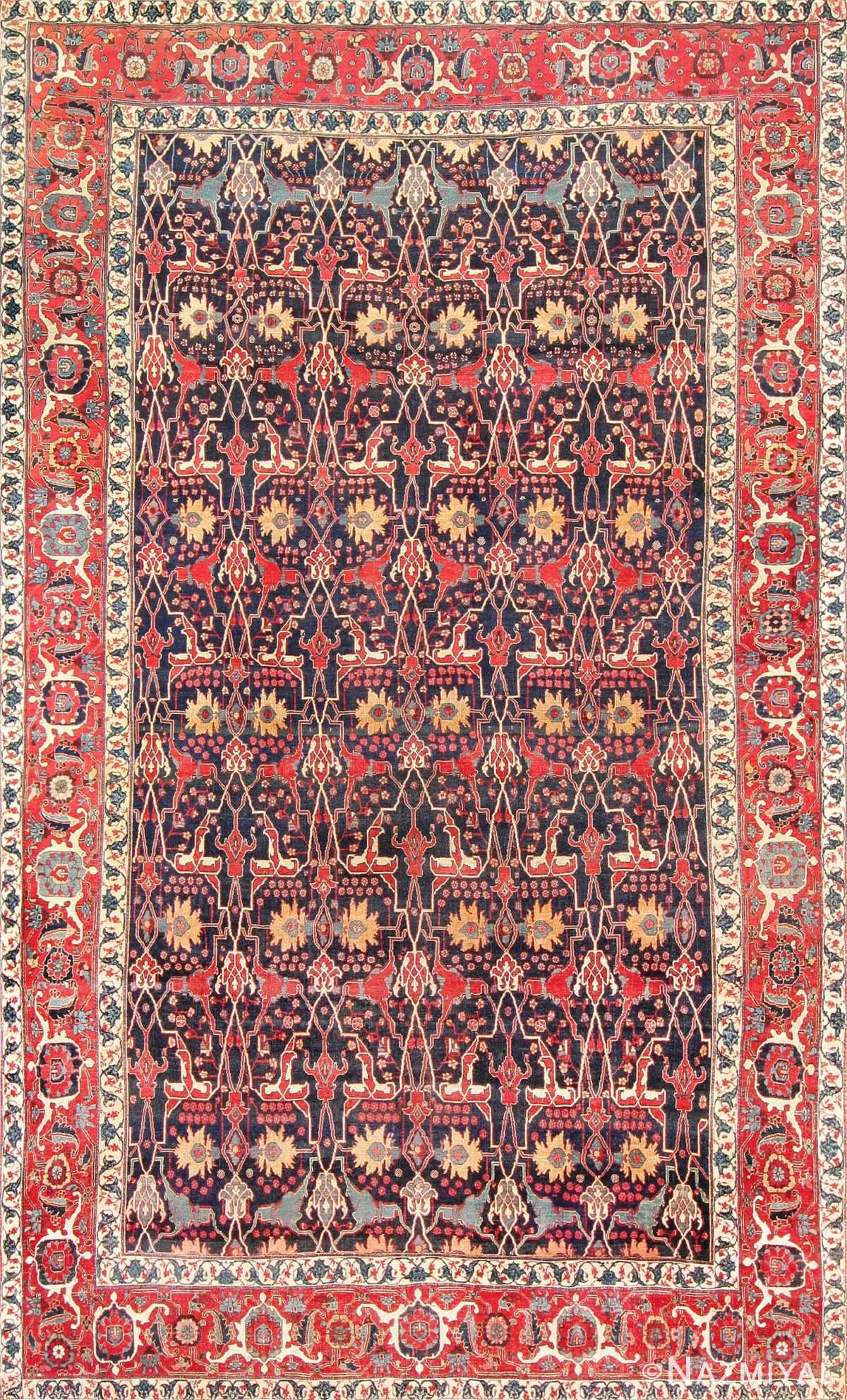 Antique Blue Persian Bidjar Carpet 47360 Detail/Large View