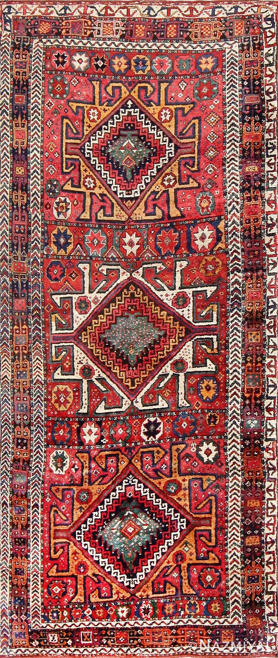 Eagle Kazak Design Antique Tribal Persian Kurdish Rug 47471 Nazmiyal