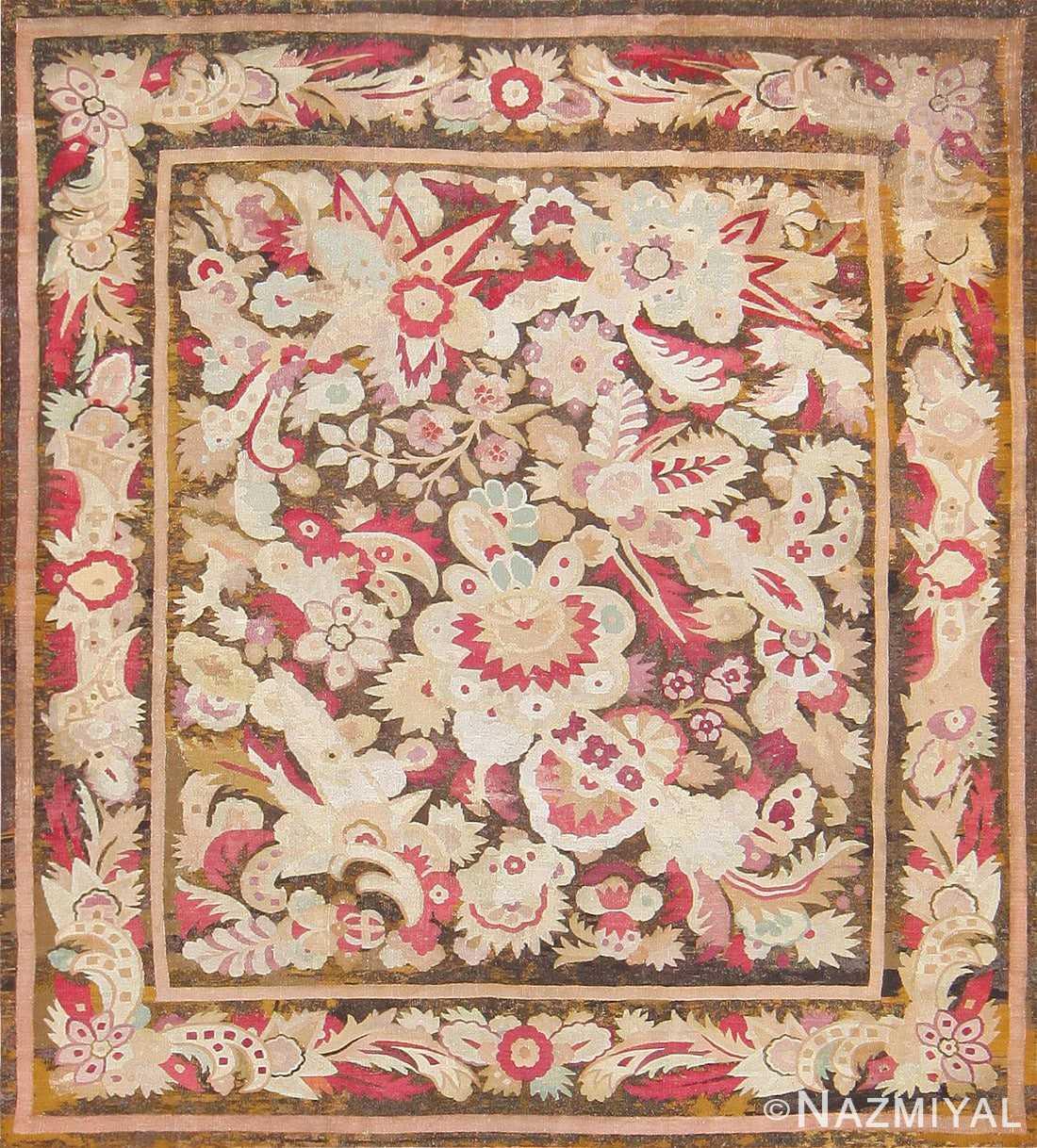 Antique French Aubusson Carpet 47526 Detail/Large View