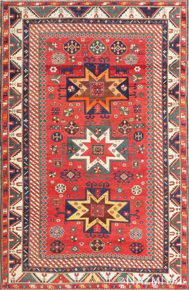 Antique Tribal Nomadic Caucasian Kazak Rug 47542 Detail/Large View