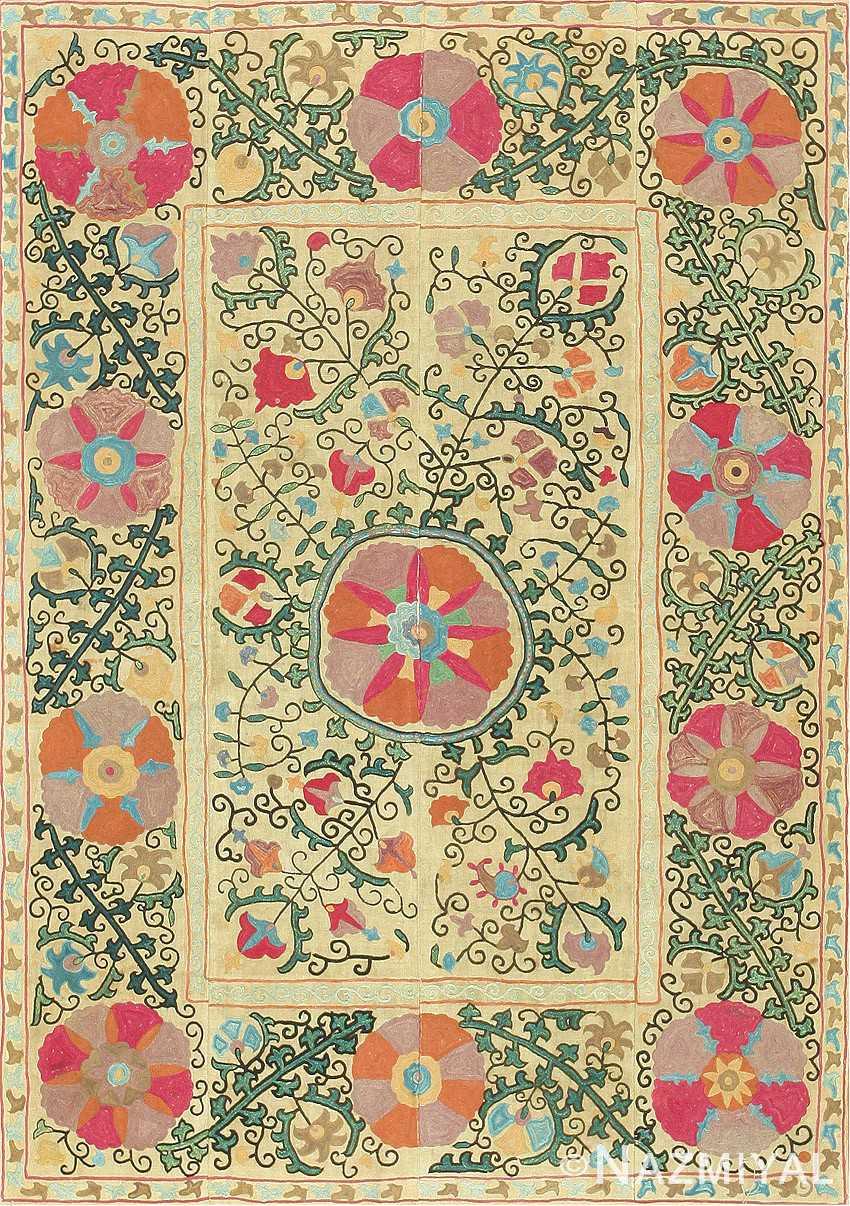 Antique Uzbek Suzani Embroidery 47480 Detail/Large View