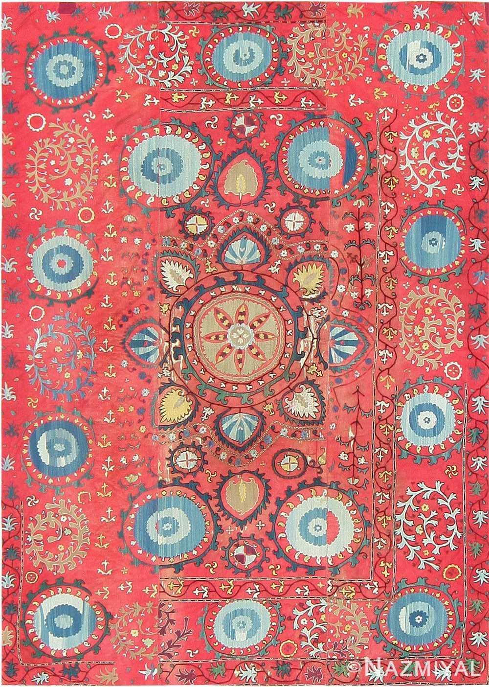Antique Uzbek Suzani Embroidery Textile 47479 Detail/Large View