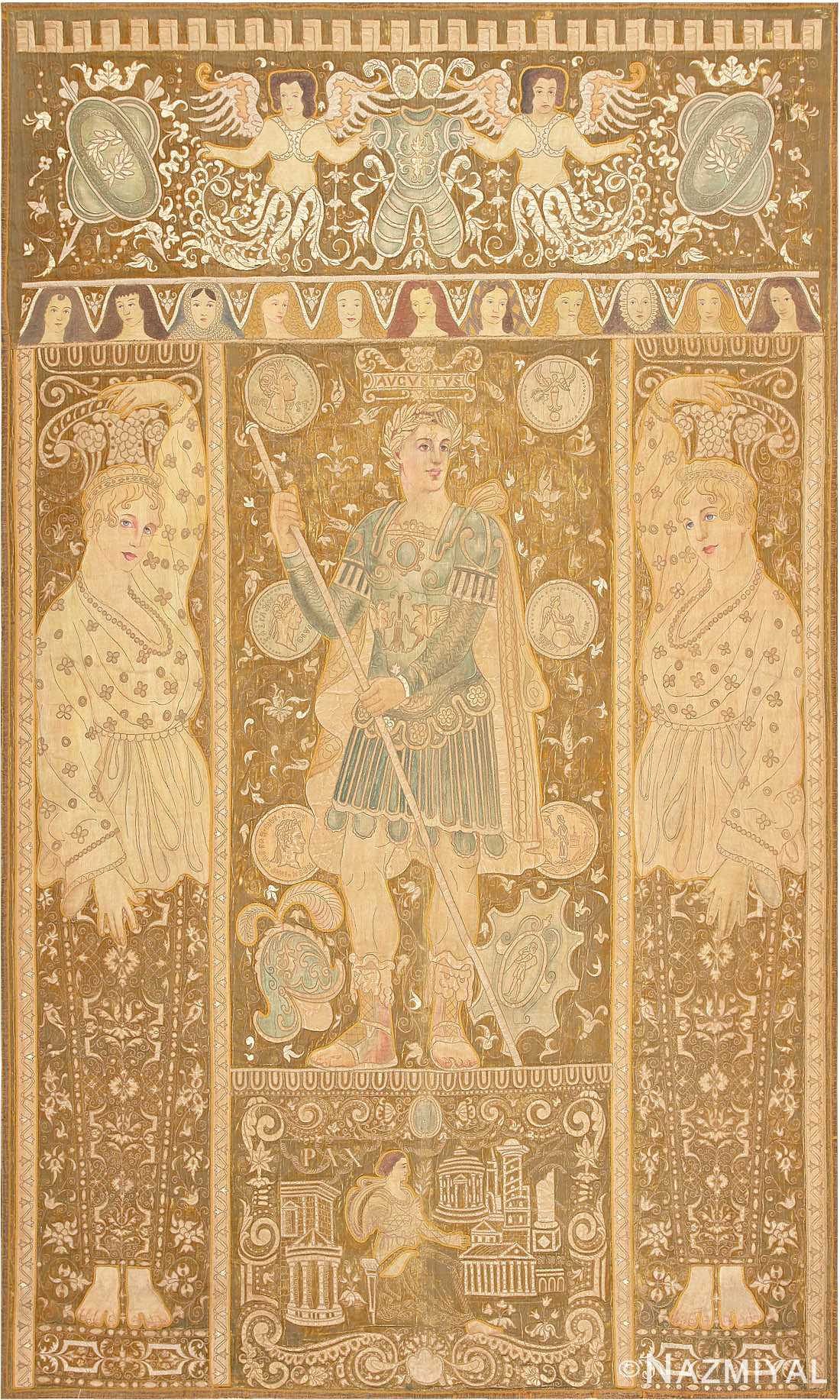 Beautiful Antique Italian Tapestry depicting Caesar Augustus Roman Emperor Octavian 47325 Large Image by Nazmiyal