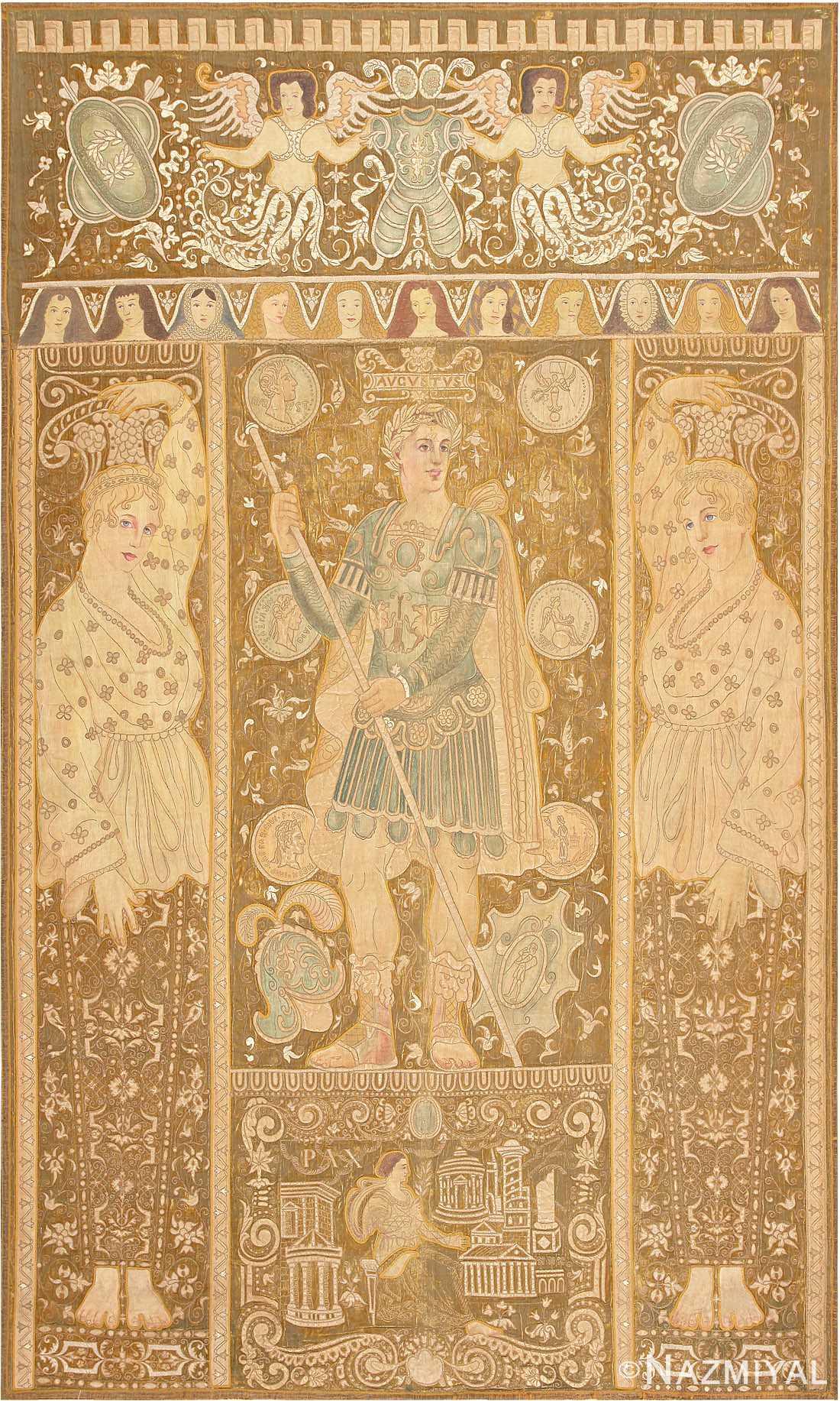 Beautiful Antique Italian Tapestry depicting Caesar Augustus Roman Emperor Octavian 47325 Large Image by Nazmiyal