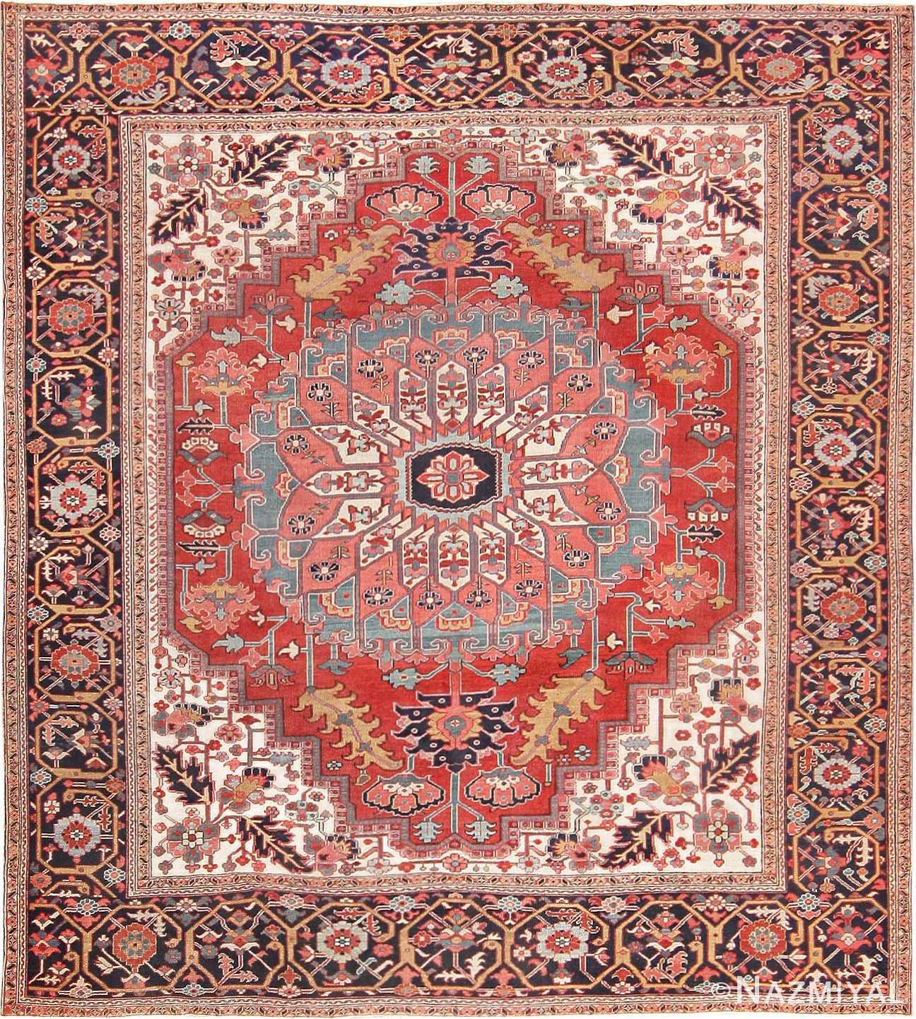Square Size Persian Antique Heriz Serapi Carpet Nazmiyal