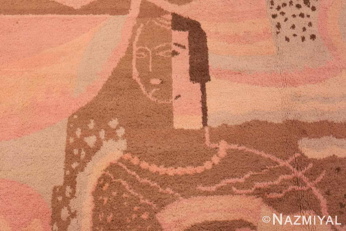 Close-up Vintage French Art deco carpet signed dm 47549 by Nazmiyal