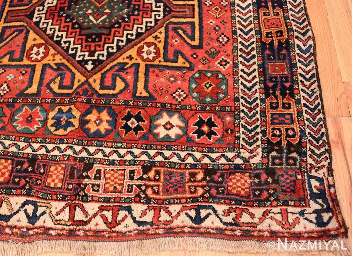 Corner Colorful Eagle Kazak design Antique Tribal Persian Kurdish rug 47471 by Nazmiyal