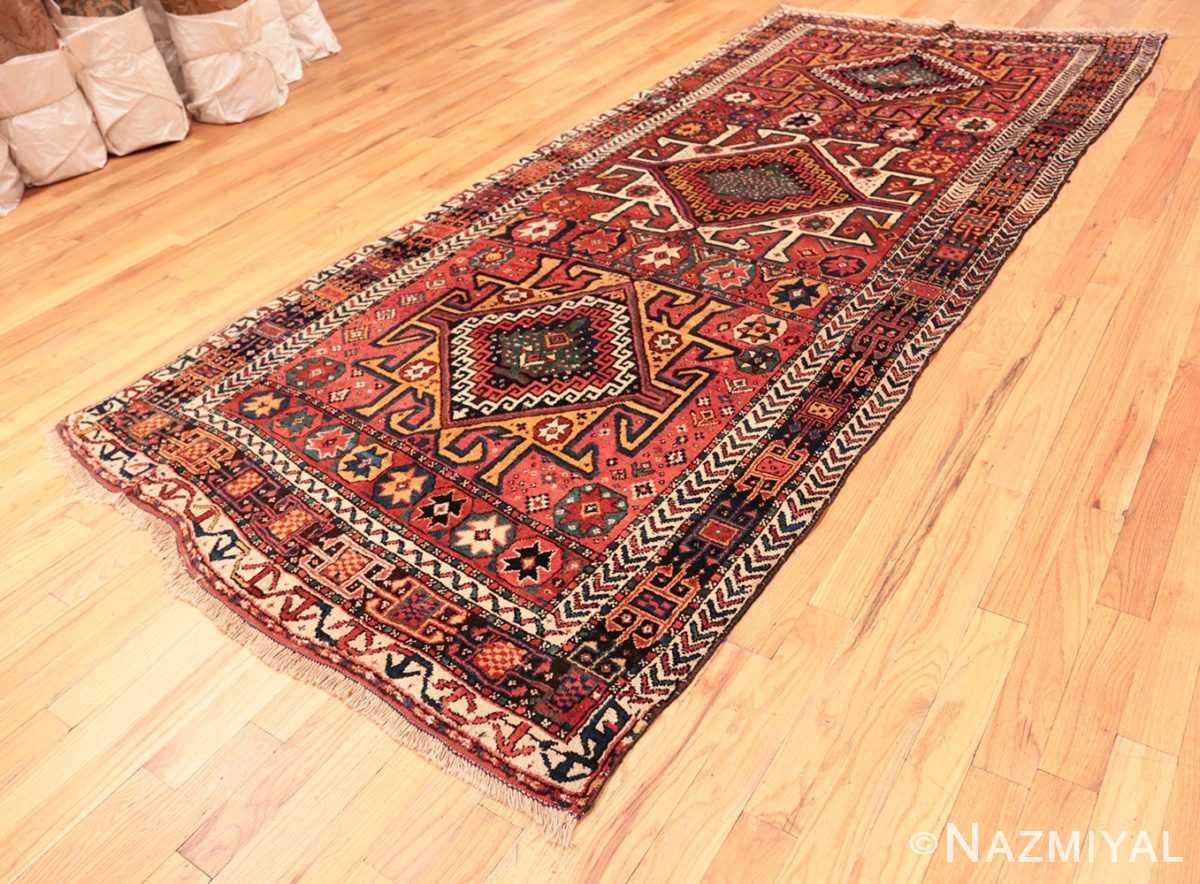 Full Colorful Eagle Kazak design Antique Tribal Persian Kurdish rug 47471 by Nazmiyal