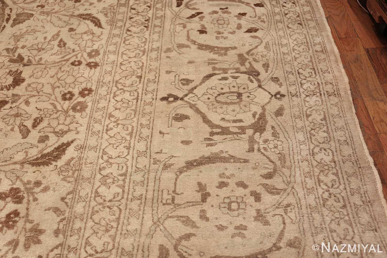 Large Oversized Antique Ivory Persian Tabriz Rug 47259 Border Design Nazmiyal