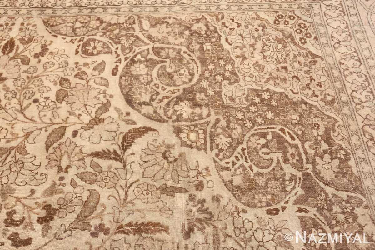 Large Oversized Antique Ivory Persian Tabriz Rug 47259 Corner Pattern Nazmiyal