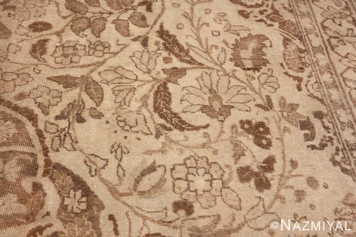 Large Oversized Antique Ivory Persian Tabriz Rug 47259 Floral Scroll Nazmiyal